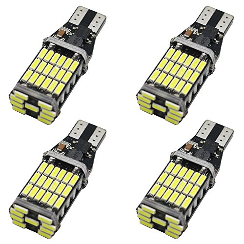( Pack of 4 ) 921 912 T10 T15 Xenon White 1100 lumens 12V-24V Extremely Bright Non-Polarity Canbus Error Free AK-4014 45pcs Chipsets LED Bulbs For Backup Reverse Parking Lights 6000K