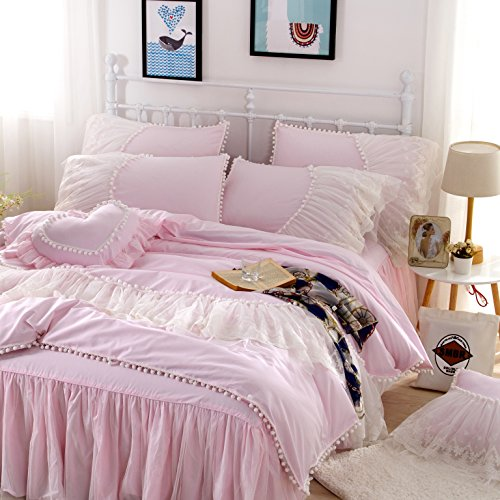 FADFAY Home Textile,Beautiful Korean Lace Bedding Sets,Luxury Girls Baby Pink Lace Ruffle Bedding Sets,Romantic Princess Wedding Bedding Set,Girls Fairy Bedding Sets Full Size - Country Girl Ruffled Skirt