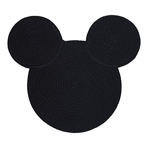 Ethan Allen | Disney Braided Mickey Mouse Rug, 3' x 3', Mickey's Ears Black (Mickey Round Mouse)