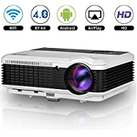 Wireless Bluetooth LED HD Android Projector 3600 Lumens LCD WXGA HDMI Wifi Airplay Wireless Home Theater Proyectors Built-in Speakers for Indoor Outdoor Movies Game TV DVD Blu ray Smartphone Xbox iPad