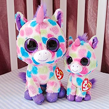 TY big eye plush toys 25cm stuffed colorful pink unicorn plush doll peluche ty beanie boos