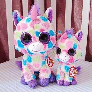 TY big eye plush toys 25cm stuffed colorful pink unicorn plush doll peluche ty beanie boos