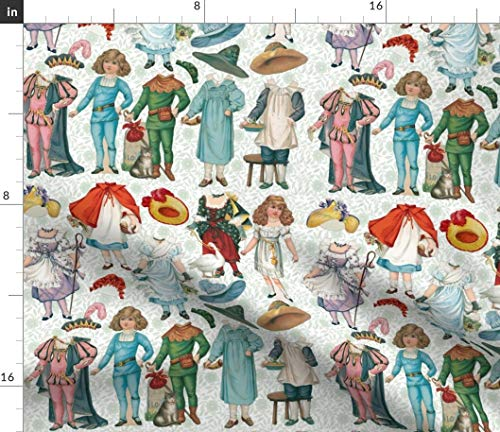 Vintage Paper Doll Fabric - Fairy Tales Dolls Nursery Decor Fantasy Victorian Fashions Hats Storybook Print on Fabric by the Yard - Denim for Sewing Bottomweight Apparel Home Decor Upholstery