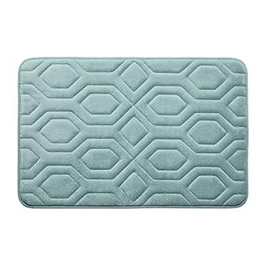 Bounce Comfort Extra Thick Memory Foam Bath Mat - Turtle Shell Premium Micro Plush Mat with BounceComfort Technology, 17 x 24 in. Aqua