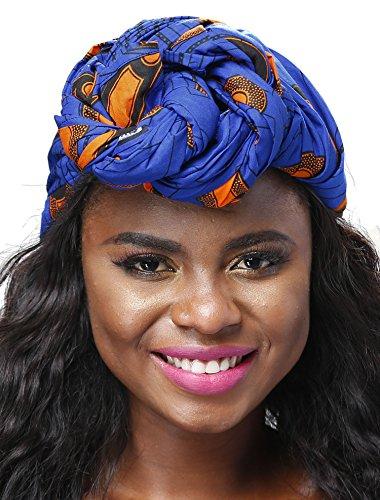 - Shenbolen African Traditional Wax Print Head wrap Headwrap Scarf Tie,One Size (71in21in, D)