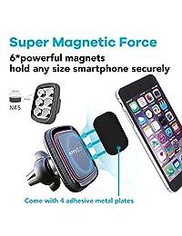 APPS2Car - Soporte magnético para teléfono móvil, soporte para rejilla de ventilación, soporte para teléfono móvil, con imanes fuertes integrados, soporte para teléfono móvil para coche con sistema de titulación ajustable y seguro