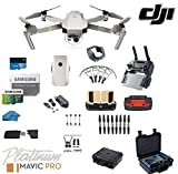 DJI Mavic Pro Platinum - Drone - Quadcopter with 32gb SD Card - 4K Professional Camera Gimbal - Bundle - Kit with Must Have Accessories with Hard Case