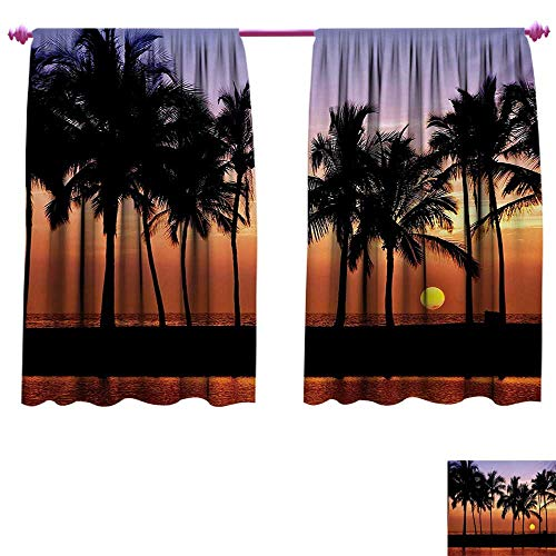 cobeDecor Hawaiian Decorative Curtains for Living Room Hawaiian Sunset on Big Island Anaehoomalu Bay Ocean Romantic Resort Waterproof Window Curtain W55 x L39 Lilac Dark Orange ()