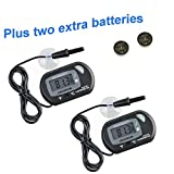 Aquaneat Aquarium Digital Thermometer Fish Tank Water Terrarium Reptile Free Extra Batteries (2 Pack)