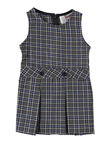 Cookie's Brand Little Girls' Scoop Neck Jumper with Kick Pleats - gray/blue (Neck Scoop Pleat Skirt)