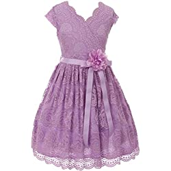 Flower Girl Dress Curly V-Neck Rose Embroidery AllOver for Big Girl Lilac 14 JKS.2066