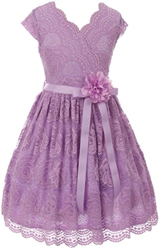 BNY Corner Flower Girl Dress Curly V-Neck Rose Embroidery allover For Little Girl Lilac 10 JKS.2066 - Girls Lilac Flower Girl
