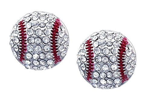 Black White Enamel Rhodium Ring - Kenz Laurenz Baseball Earrings Stud Posts