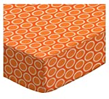 SheetWorld Fitted Crib / Toddler Sheet - Primary Bubbles Orange Woven - Made In USA
