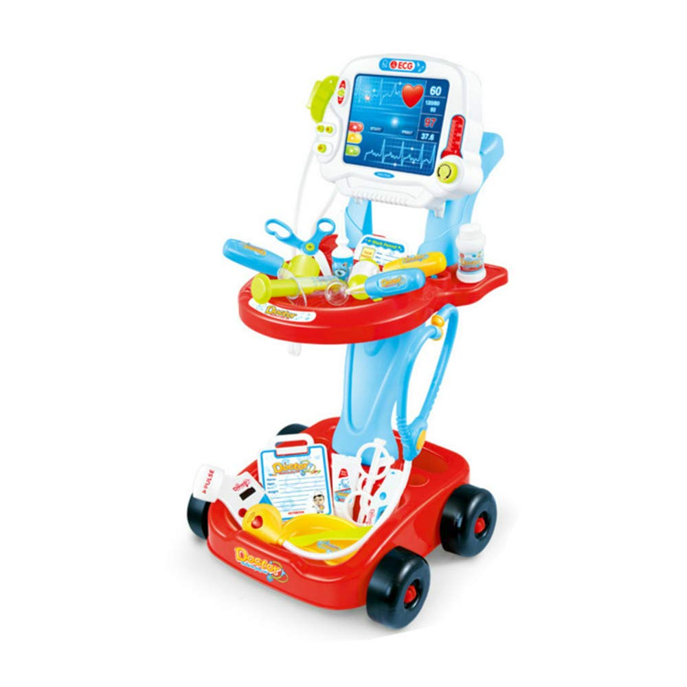 Children's Toys Simulation Electric Cardiogram Doctor Injections Home Boys and Girls Medicine Box Set Trolley,Red