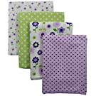 Carter's 4 Piece Flannel Receiving Blankets, Lilac Floral/ Purple/Green/Lavender