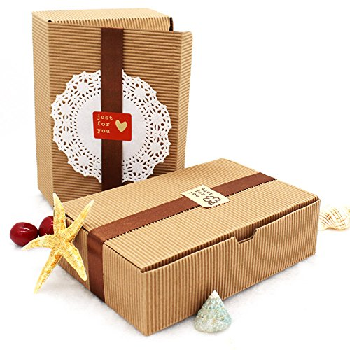 Saasiiyo 20PCS Brown Kraft Corrugated Paper Boxes, Baking Food Carton Box, Cookies Gift Boxes, Mooncake Chocolate Packaging 18.2x12x5CM