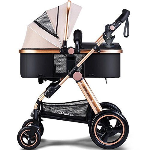 YBL High landscape baby stroller Newborn baby carriage Four rounds Baby car Folding suspension Can sit and lie down Two-way implementation Suitable for children 0-3 years old
