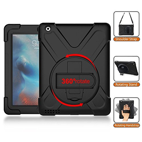 iPad Case for 2/3/4, Rubber Tablet Cover with Rotating Kickstand/Hand Strap/Shoulder Strap Heavy Duty Impact Resistant Shockproof Full-Body Protective Case for iPad 9.7 inch 2nd, 3rd, 4th Generation