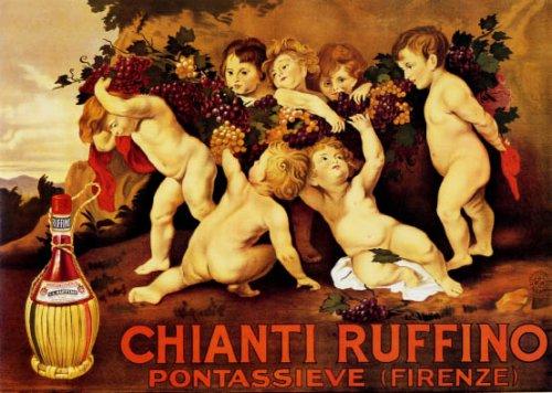 (CHIANTI RUFFINO PONTASSIEVE FIRENZE FLORENCE ITALY WINE VINTAGE POSTER REPRO)