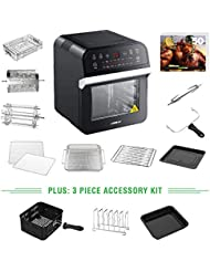 GoWISE USA 12.7-Quart 15-in-1 Electric Air Fryer Oven w/Rotisserie and Dehydrator + 50 Recipes for your Air Fryer Oven Book (Black + Accessories)