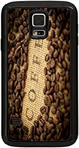 Rikki KnightTM Coffee Beans with Coffee inscripted on Bean Sack Black Galaxy S5 Tough-It Case Cover for Galaxy S5 (Double Layer case with Silicone Protection and thick front bumper protection)