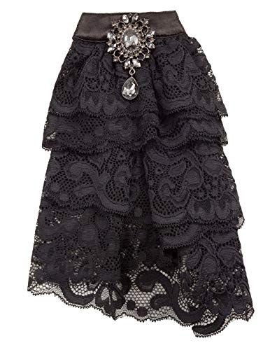 Women Victorian Costume Pin Bow Tie Elizabethan Lace Jabot Neckwear Black