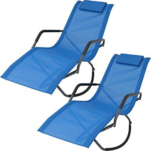 Blue Lounger - Sunnydaze Rocking Chaise Lounge Chair with Headrest Pillow, Outdoor Folding Patio Lounger, Blue, Set of 2