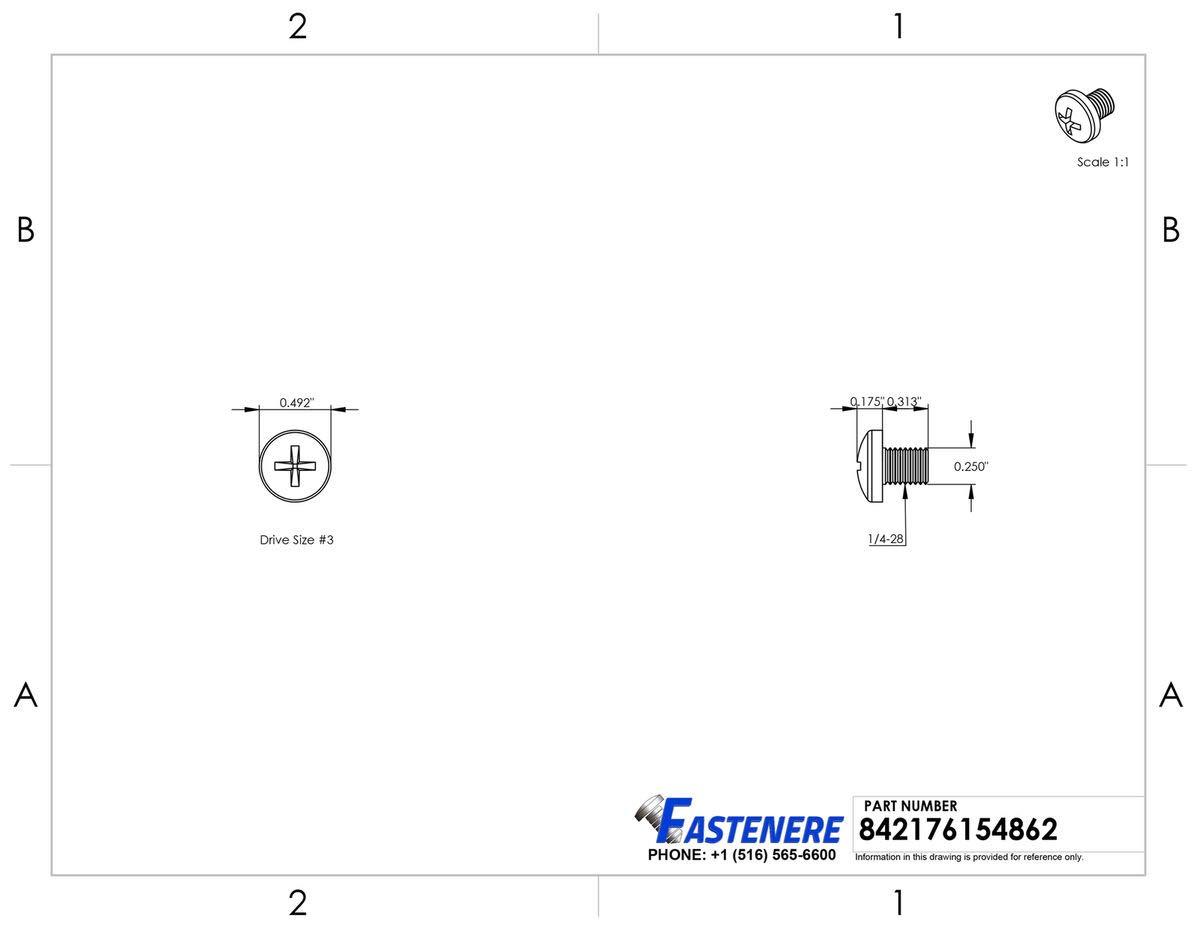 1//4-28 X 5//16 Pan Head Machine Screws Phillips Drive Stainless Steel Qty 25