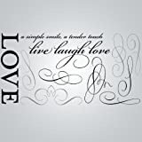 DCWV Wall Art Love Quote, Peel - Stick, Black/Brown