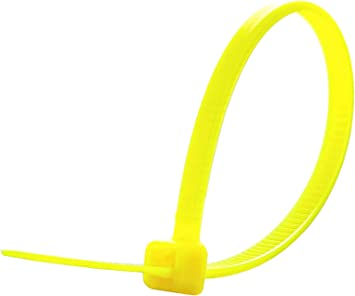 """NEW 100-pk 4/"""" Nylon Cable Zip Wrap Ties FLUORESCENT YELLOW 18lb Tensile Made USA"""