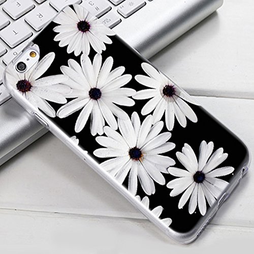 iPhone 8 Plus Case, iPhone 7 Plus Case, Ailiber Flower Floral Chrysanthemum Slim-fit Anti-Scratches Lightweight Soft TPU Protective Cover for Apple iPhone 7Plus 8Plus 5.5inch- Black White Daisy