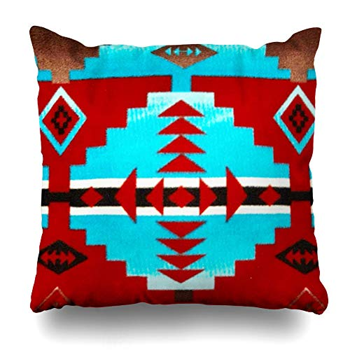 Ahawoso Throw Pillow Covers Native American Indian Red Turquoise Print Pillowslip Square Size 18 x 18 Inches Cushion Cases Pillowcases ()