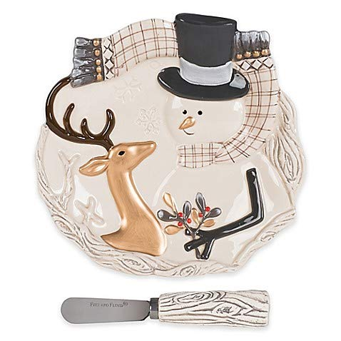 Fitz and Floyd Wintry Woods Snowman Appetizer Plate with Spreader