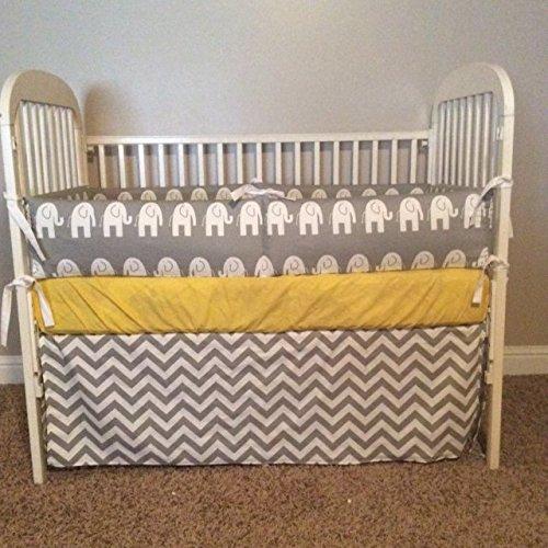 Grey and Yellow Elephant 2 or 3 piece Crib (Dusk Crib)