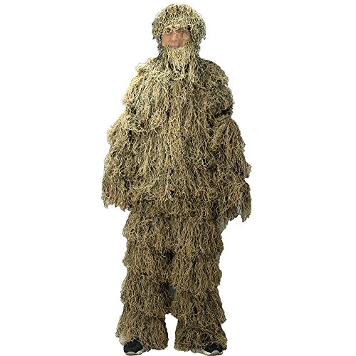 Ghillie Suits LOOGU Camo Suit Desert Design Military Hunting and Shooting Accessories Tactical Camouflage Clothing Blind for Airsoft, Wildlife Photography Halloween or Party