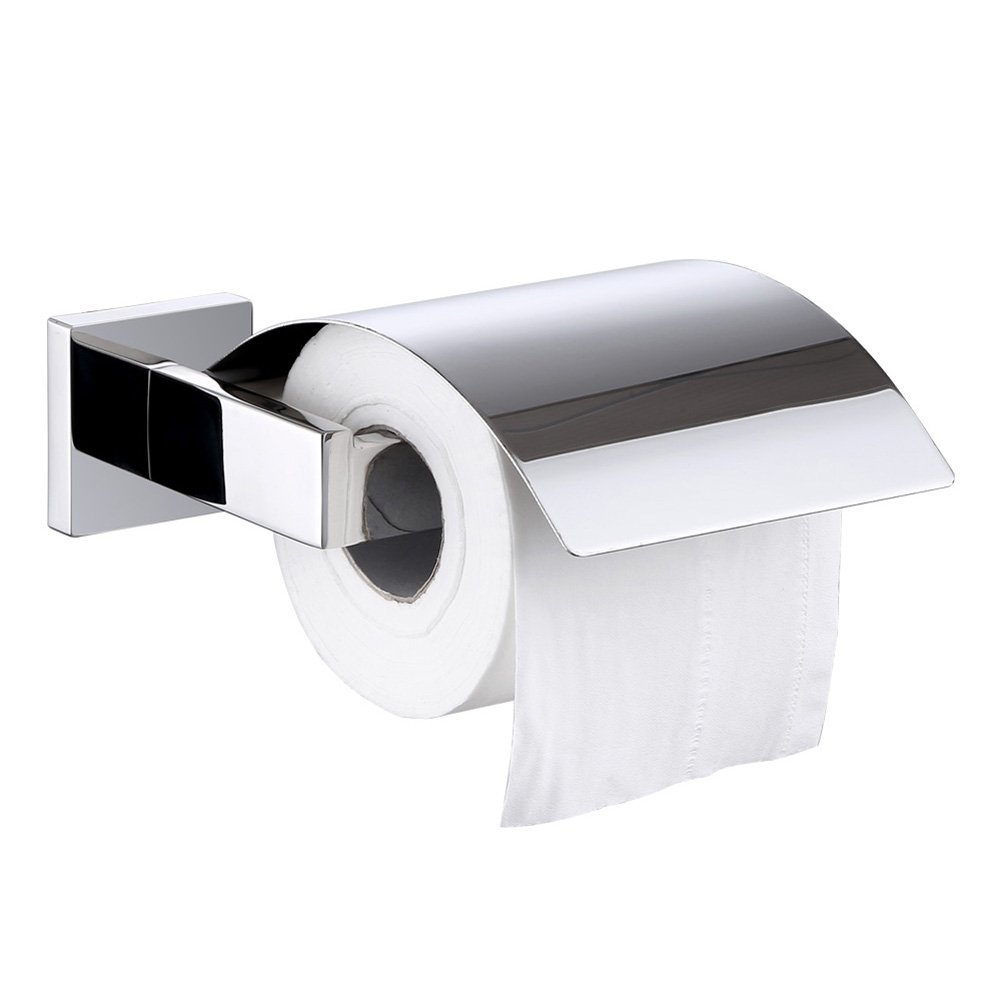 Toilet Paper Holder with Cover, Angle Simple SUS304 Stainless Steel Bath Tissue Holder, Toilet Paper Tissue Roll Dispenser with Flap, Dustproof Toilet Tissue Hanger Wall Mount, Polished Chrome