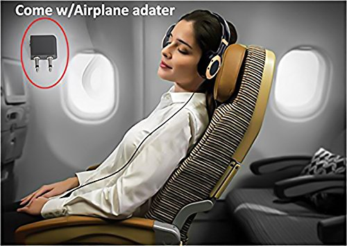 Active Noise Cancelling Headphones with Microphone and Airplane Adapter, Alteng J19 Folding and Lightweight Travel Headsets, Hi-Fi Deep Bass Wired Headphones with Carrying Case - Black by ALTENG (Image #3)