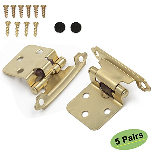 - Brass Kitchen Cabinet Hinges Gold Variable Overlay - Homdiy SCH30BB Face Mount Self Closing Cabinet Hardware Hinges for Kitchen Cabinets Cupboard Hinges 10 Pack(5 Pairs)