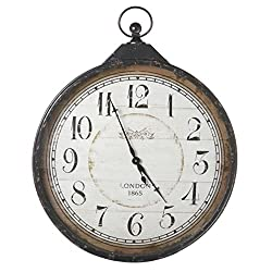 40.75 Extra Large Distressed Antique-Style Black Pocket Watch Wall Clock