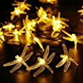 Qedertek Outdoor Dragonfly Solar String Lights, 20ft 30 LED 8 Modes Fairy Lighting for Christmas Trees, Garden, Patio, Wedding, Party and Holiday Decorations