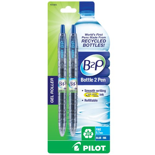 Pilot B2P - Bottle to Pen - Retractable Gel Roller Pens Made from Recycled Bottles, 2 Pen Pack, Fine Point, Blue (31606)