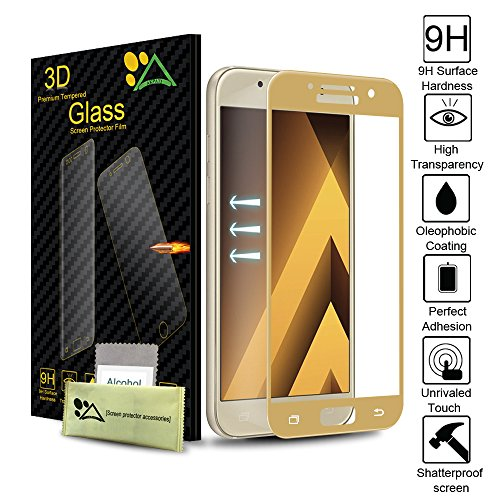 Samsung Galaxy A3 2017 Screen Protector, Akpati Ultra-thin 3D Curved Premium Tempered Glass Clear Anti-Bubble [Scratch-Resistant] for Samsung Galaxy A3 2017(NOT for A3 2016) - Gold