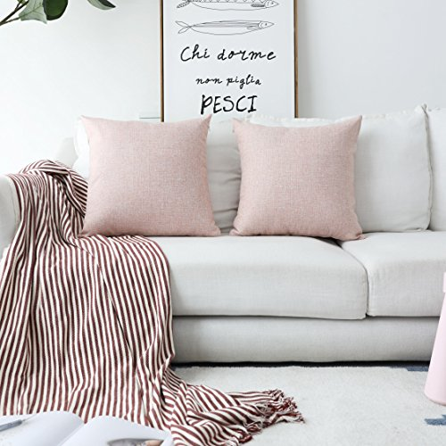 Decorative Modern Pillow (HOME BRILLIANT Decorative Pillows Covers Lined Linen Cushion Covers for Bed, Set of 2, 18x18 inches, Baby Pink)