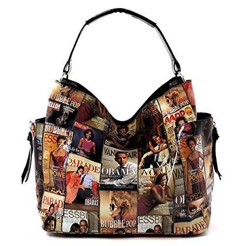 (Glossy Magazine Cover Collage 3-in-1 Shoulder Bag Hobo Michelle Obama Handbag (Multi))