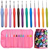 (US) Crochet Hooks Set 12pcs - Ergonomic Soft Rubber Grip Handle and Aluminum Knitting Needle in Case-Size 2mm to 8mm DIY Weave Yarn Kit by NATUREBELLE