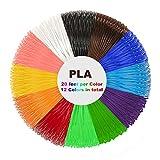 3D Pen PLA Filament Refills(1.75mm) - 240 Linear Feet - Pack of 12 Different Colors in 20 Feet Lengths for Tipeye,3Doodler,soyan,IDO3D,MYNT3D,RANDTK,PACKGOUT 3D Pen etc