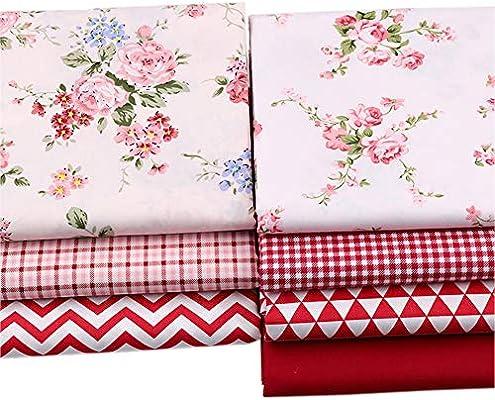 Red Print - Lote de telas de algodón 100% para costura, 46 x 56 cm ...