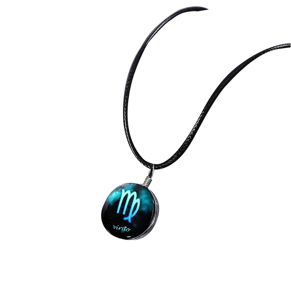 Wintefei Jewelry Horoscope Constellation Sign Cabochon Glass Pendant Rope Necklace - Virgo