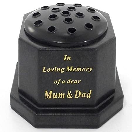 Black topped In loving memory of a dear Mum and Dad memorial pot ...